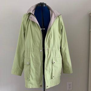 Liz Claiborne rain jacket sz M, lime green w/hood